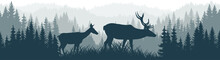 Vector Mountains Forest Woodland Background Texture Seamless Pattern With Couple Of White Tailed Deers