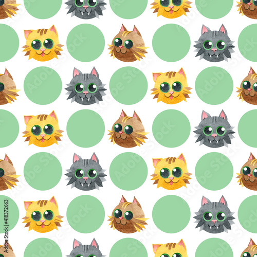 Seamless pattern with funny cat faces. Creative Scandinavian children's texture. Watercolor illustrations on a polka dot background. Great for fabrics, textiles, websites, wallpaper, packaging, cards.