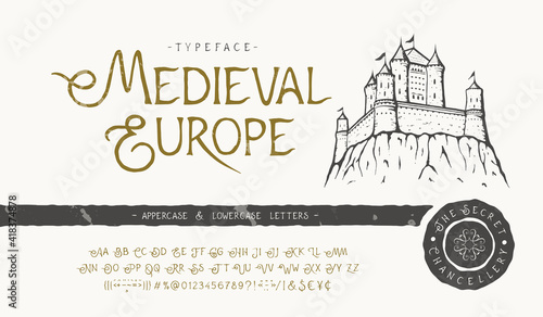 Fotografie, Obraz Font Medieval Europe. Craft retro typeface design.