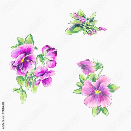 Foto Watercolor greeting card elements pink violas
