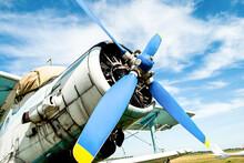 Old Plane Propeller. Vintage Fighter Plane Closeup By Blue Sky
