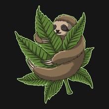 Sloth Hug Weed Vector Illustration
