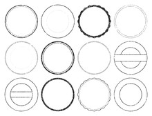 Vector Illustration Of Different Types Of Round Stamps