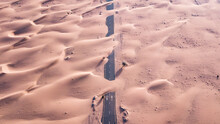 Highway Covered By Sand After A Sandstorm In A Desert In UAE