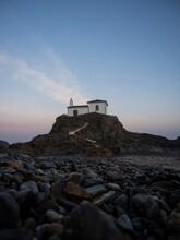Sunrise Panorama Of Atlantic Coast Chapel On Rock Cliff Ermida Da Virxe Do Porto Meiras Valdovino A Coruna Galicia Spain
