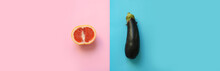 Banner Of Symbols For Male And Female Gender (sex) Shown As Half A Grapefruit And An Eggplant