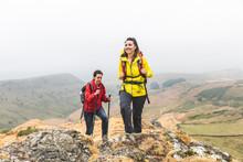 Hikers Using Walking Poles, Chrome Hill, Peak District, Derbyshire