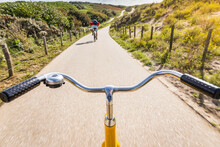 Cycling Along Rural Road Between Dunes Near Den Haag, Personal Perspective,  Scheveningen, South Holland, Netherlands