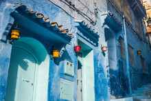 Blue Painted House Exteriors On Stairway, Detail, Chefchaouen, Morocco