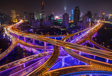 Nine Dragon Intersection At Night, High Angle View, Shanghai, China