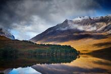 Tranquil Mountain Landscape Mirror Imaged In Loch, Achnasheen, Scottish Highlands, Scotland