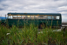 Mobile Home Bus Parked By Beach, Homer, Alaska, United States