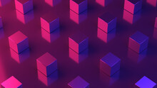 Repeating Pattern. Cubes Texture. 3D Cube Wallpaper. Neon Light. Coolorful Background. Graphic Design. Red And Purple Colors.
