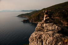 Great View On Cairn Marking Hiking Trail Of Lycian Way In Turkey