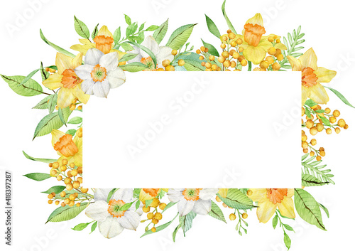 Watercolor frame with yellow spring flowers Fototapet