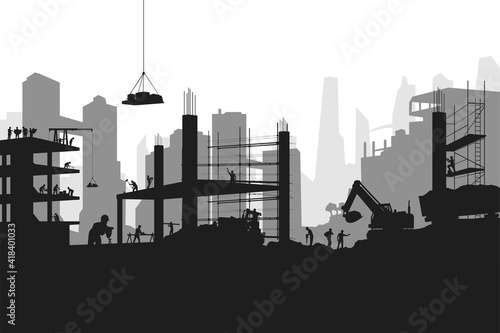 silhouette builders at work on big construction