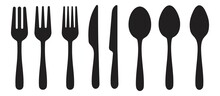 Spoon, Knife, Fork Icon Set, Dining Silverware Silhouette, Cutlery, Vector Illustration
