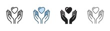 Hands Holding Heart Icon, Hand With Love Vector Illustration