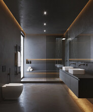 3d Black  Masculine Bathroom With Contemporary Minimal Design And Black Metal Details