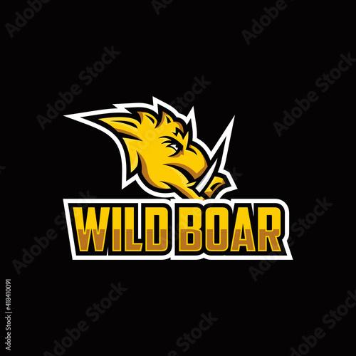 Fényképezés Furious boar head sport club vector logo