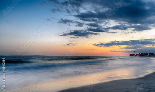 Canvas Print Sunset on Coney Island Beach.