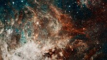 Loop Space Travel The Tarantula Nebula. Space Flight To Star Field Galaxy And Nebulae Deep Space Exploration. 4K 3D Seamless Looping Flight To Tarantula Nebula. Elements Furnished By NASA Image.