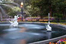 USA, Georgia, Savannah. Forsyth Park Fountain In The Spring.