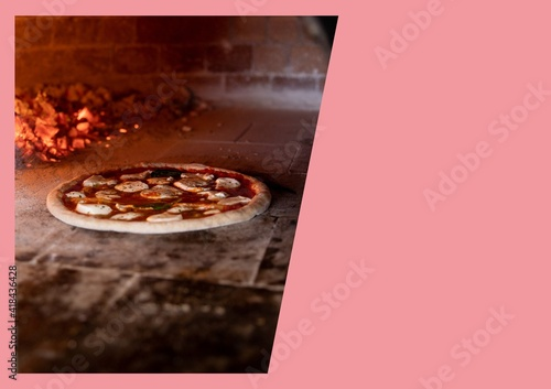 Illustration with pizza in clay over with pink copy space