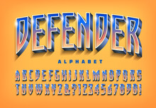 Defender Is An Alphabet Design With Gradients And Shiny Highlights. Good For Superhero, Sporting, Or Game Logos.
