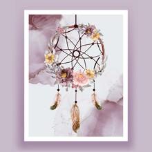 Watercolor Dream Catcher Flower Purple Pink Feather