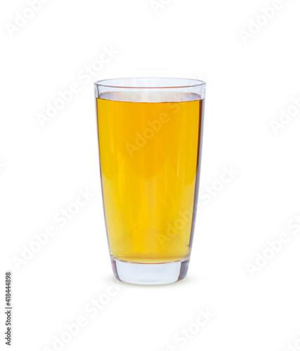 Obraz Apple juice fresh in glass. Healthy juice Isolated on white background. - fototapety do salonu