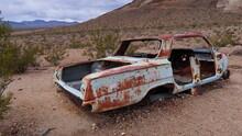 Junked Car In The Nevada Desert.
