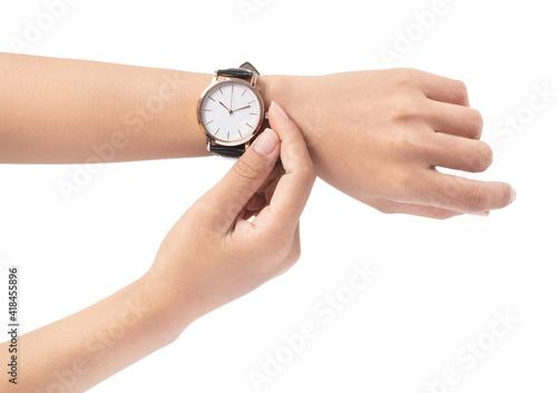 Valokuva hand holding Wrist Watch isolated on white background