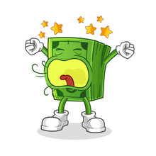 Money Yawn Character. Cartoon Mascot Vector