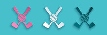 Paper Cut Crossed Golf Club With Ball Icon Isolated On Blue Background. Paper Art Style. Vector.