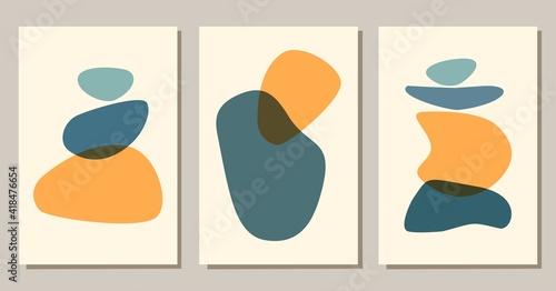 Fototapeta Contemporary abstract shapes boho posters. Modern background set bohemian aesthetic. Vector flat illustration. Design for wall art prints, card, cover. obraz na płótnie