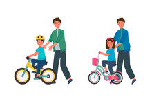 A Set Of Illustrations Of Fathers Teaching Children To Ride A Bicycle. Drawing With Girls And Boys Bicycling. Poster Of A Parent's Help In Learning To Ride A Bike. Vector Illustration