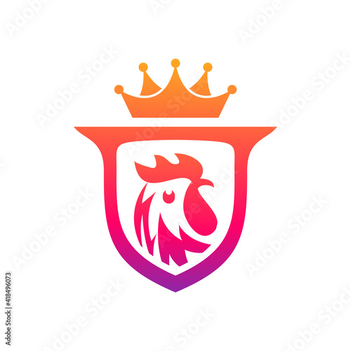 Foto colorful rooster shield logo design