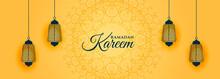 Islamic Style Ramadan Kareem Yellow Banner Design