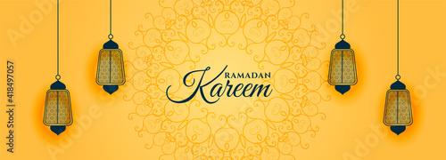 Stampa su Tela islamic style ramadan kareem yellow banner design