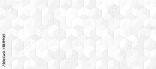 Abstract seamless white and grey square 3D pattern background. Modern geometric texture design. Vector illustration - fototapety na wymiar