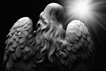 Antique Statue Of Wonderful Angel In The Rays Of The Light. Black And White Image. Architecture, Archetype, Religion, Faith Concept.