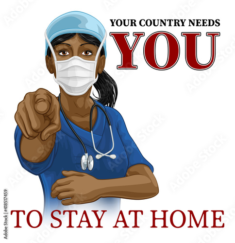 Fotomural A woman nurse or doctor in surgical or hospital scrubs and mask pointing in a your country needs or wants you gesture