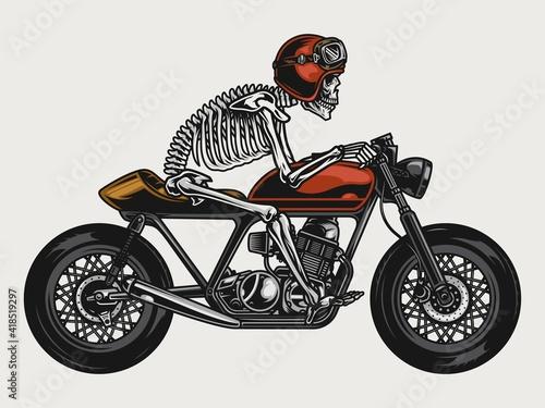 Tela Skeleton riding cafe racer motorcycle