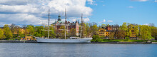 Scenic Summer View Of The  Historical Tall Sailing Ship AF Chapman At Skeppsholmen Island In Stockholm, Sweden
