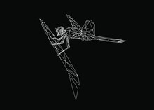 Low Poly Art Of A Dragonfly In White Color Wireframe. Vector Animal Triangle Geometric Illustration. Abstract Polygonal Art. With Black Color Background.