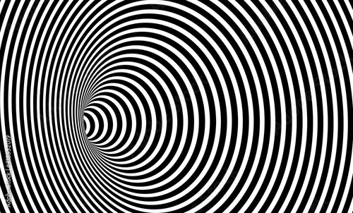 Fototapety, obrazy: Wormhole Optical Illusion, Geometric Black and White Abstract Hypnotic Worm Hole Tunnel, Abstract Twisted Vector Illusion 3D Optical Art background
