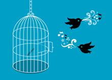 Birds With Birdcage Vector Illustration