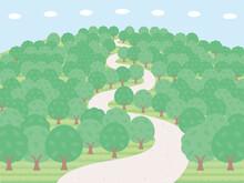 緑の木がたくさん生えているシンプルな山の背景イラスト