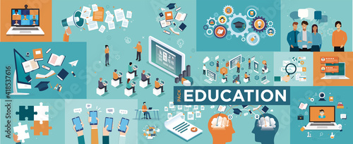 Online education concept Fotobehang